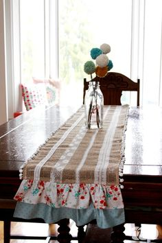 Burlap and Lace Table Runner - The Ribbon Retreat Blog