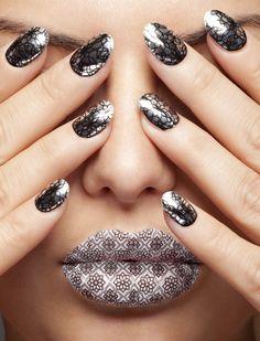 strike metal, nail trends, web design, metal nail, brandon shower, silver, lips, nail arts, nails