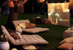 screen, movie theaters, dream backyard, outdoor movie party, summer nights, outdoor theater, movie nights, pottery barn, parti