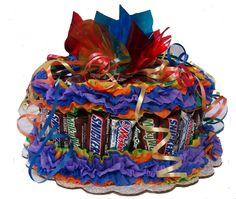 "Confetti Candy Bar Cake made from snack size candy bars.  9"" round"