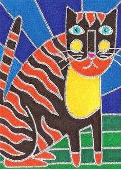 Tiger Cat by David Venne - a needlepoint kit from The Silk Mill complete with all the silks.