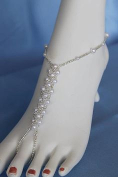 Bridal Barefoot Sandals Beach Wedding Foot Jewelry Pearl Pattern