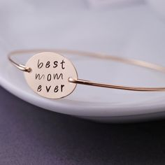 Gift for Mom Mother Jewelry Gold Best Mom Ever by georgiedesigns