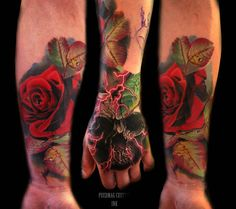 I like the skull and lightning, but I'm not sure if want the roses included. By Luis Fernando Puedmag Vinueza @ Puedmag Custom Ink Tattoos in Toronto, Ontario (via Facebook).