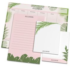 "A breezy tropical design creates the perfect vibe for your weekly planning with flexible notepads. Set includes a large notepad (8.5"" x 11""), a medium notepad (5.5""x 8.5"") and 2 smaller notepads (4.25"" x 5.5""). Each notepad has 50 sheets. Paper weight is 70 lb. text. Collection will arrive shrink-wrapped. Design and uppercase typestyle only as shown. NOTE: Personalization will be printed exactly as you typed it."