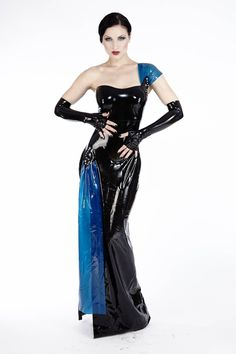 This elegant one-shoulder evening gown has a 1940's inspired dianmond shaped detailing, accented with blue rhinestones. The flirtatious slit on the side accentuates the seductive leg with a beautifully draped piece of semi-transparent blue latex.  Availability:: Usually Ships in 4 to 6 Weeks Product Code: SKU16147