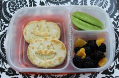 Jack-o-lantern quesadilla lunch   packed in @EasyLunchboxes containers