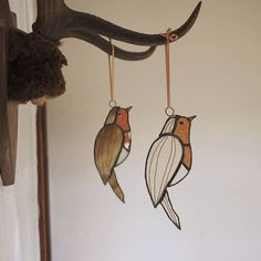 Hanging Stained Glass Robin