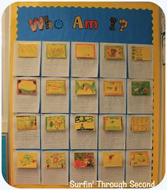 Fantastic Open House idea - the kids write clues about themselves and cover their own photos w/ an illustrated tab.