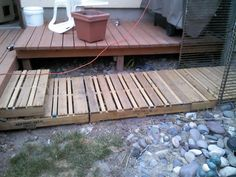 we needed a walkway from our deck to our back yard. Hubby took some 1x1's cut them to fit between pallet slats and screwed them down.