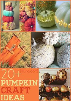 A collection of 20+ Pumpkin Craft IDEAS perfect for Halloween!! I should probably decorate this year...