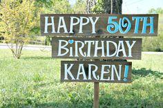 Birthday Party Yard Sign, Happy Birthday Sign, Birthday Party Decorations, 1st, 30th, 40th, 50th, 60th, Anniversary Party. $65.00, via Etsy.