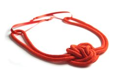 Rope+hairband+made+from+100+%+coral+red+cotton+rope,+which+is+hand-dyed+and+hand-knotted.+