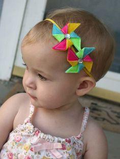 Double Bright Summer Pinwheel Skinny Headband for Baby girl- DIY