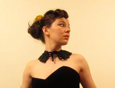 Vintage Black Collar Choker in Black Velvet with by BasyaBerkman, $40.00