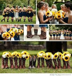 This is so adorable! #countrywedding #sunflowers #country #wedding #cowboyshoes #weddingideas For more Cute n' Country visit:  www.cutencountry.com and www.facebook.com/cuteandcountry