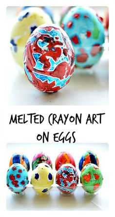 Melted Crayon Art on Eggs#eastercrafts