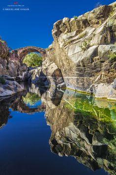Guarrizas river, Roman Bridge Vadollano in Linares, Andalusian, Jaén, Spain