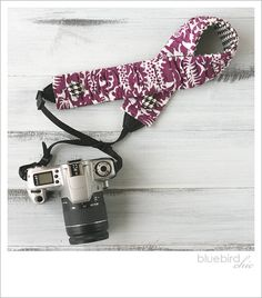 ruched camera strap cover  purple by bluebirdchic on Etsy, $35.00