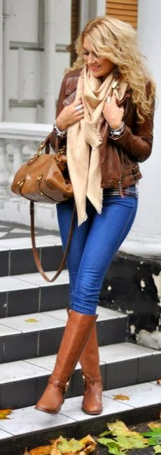 Fall Outfit With Skinny Jeans,Brown Leather Jacket and Infinity Scarf. @MijoRecipes