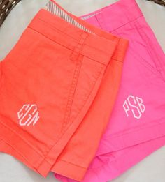 Monogrammed shorts.
