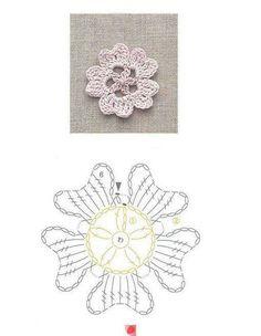 Crochet flower, ❥Teresa Restegui http://www.pinterest.com/teretegui/❥