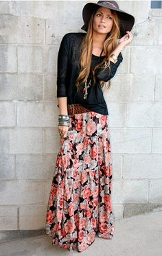 long skirt. just bought one. trying to figure out how to wear them. boho chic, long hair, outfit, long skirts, belt, floral, hat, almost famous, maxi skirts
