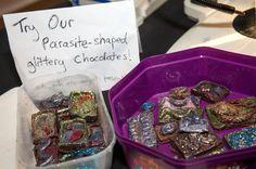 Parasite-shaped glittering chocolate at #SU2014