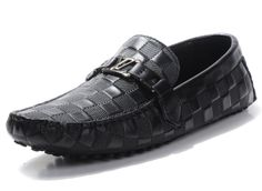 I'd get these Men's Louis Vuitton Leather Loafers black with metal logo $87.52