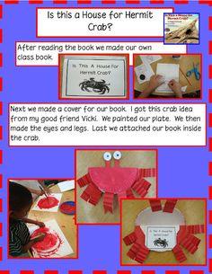Free student book gang kindergarten, summer books, craft books, ocean unit, ocean themes, mini books, writing activities, paper plates, hermit crabs