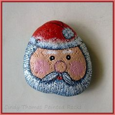 Santa painted rock