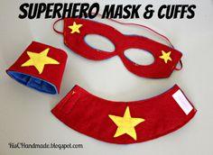 sew, kid costum, idea, superhero mask, superhero party, masks, cuffs, risc handmad, parti