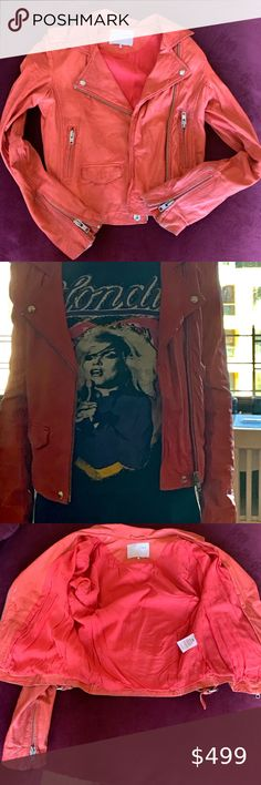 "Iro Ashville Leather Jacket Amazing Iro Ashville moto jacket in a fun coral shade. Size 0 and buttery soft leather. Worn just once - in mint condition! This style is meant to ""look"" worn. IRO Jackets & Coats"