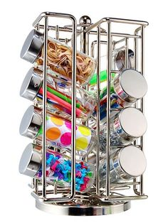 Spice rack as craft/office/odds-and-ends organizer. Instant storage for those awkward little things that never seem to find a proper home  tacks, safety pins, paper clips, rubber bands, sewing pins, kids special-use crafting supplies like googly eyes and glitter... #Recipes