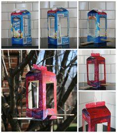 Milk Carton Bird Feeder ~ Recycled bird feeder spring kids craft