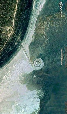 Robert Smithson's Spiral Jetty, close to Rozel Point, Great Salt Lake, Utah. Image from Google Earth.