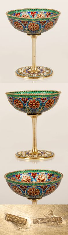 A Russian silver gilt, plique-a-jour and cloisonne enamel goblet, O vchinnikov, Moscow, Circa 1890. The bowl enameled with panels enclosing stylized flowers in red, pink, green and blue on light blue grounds. The circular foot enameled with a band of multi-color flower heads within a turquoise pellet border