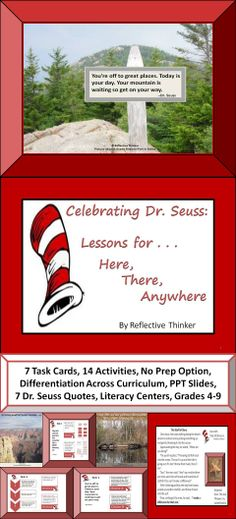"""The focus of this resource is """"Lessons on Life."""" It contains and/or covers the following: reading skills, writing activities, geography, maps, scales, bar graphs, poetry, stories, environmental concerns, Dr. Seuss quotes and books, colorful photographs, 14 activities, 21 slides, 7 task cards with differentiated activities, critical thinking activities, and activities that appeal to varied learning styles. #drseuss #life'slessons"""