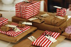 Xmas wrapping - brown paper, candy stripes and twine!