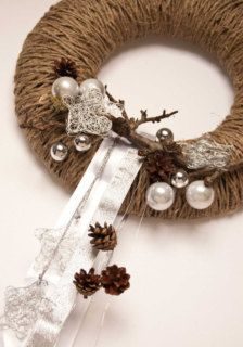 Wreaths in Holiday Decor - Etsy Holidays twine wrapped