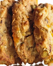Mixed Fruit-and-Nut Cookies  These hearty cookies are packed with wholesome dried fruits and nuts. They borrow their delicious flavors from the traditional holiday fruitcake.