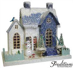 putz putz hous, christma villag, blue snow, glitter houses, christmas villages, christma hous, blue houses, codi foster, christmas houses
