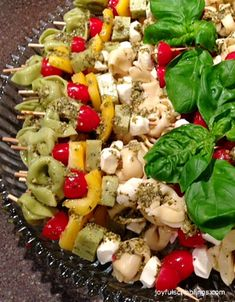 Tortellini Kabobs - An easy finger food appetizer you can make ahead of time. #appetizer