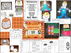 This creative product includes many new and interesting ways to celebrate Halloween in your classroom. Original Eye Spy Halloween and  Spider Rhymes book, Pumpkin writing paper, in color and black and white, Scarecrow craft, templates and poem-adorable with The Little Old Lady Who Wasn't Afraid of Anything, Witches Brew-darling children's book activity and poem,Creepy Coloring-math game for Dice in Dice {or 2 dice}, Monster Math Match worksheet-  1.O.A. Spooky Subtraction Scene-1. N. B. T.