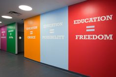 Environmental graphics designed for Achievement First Endeavor Middle School, a charter school in Clinton Hill, Brooklyn.