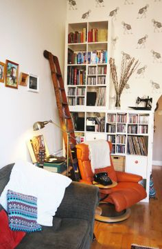 Lizzie and Phil's Bold and Playful West-End Pad-good idea for CD storage