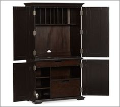 Campton Smart Technology™ Office Armoire - Desa Mocha | Pottery Barn