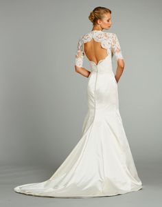 Love this keyhole open back wedding dress by Jim Hjelm