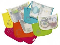 Fantastic set of reusable bags that let you turn any bag into a diaper bag. Awesome baby shower gift!
