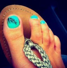 Cute pedicure design/ feather / turquoise nail polish